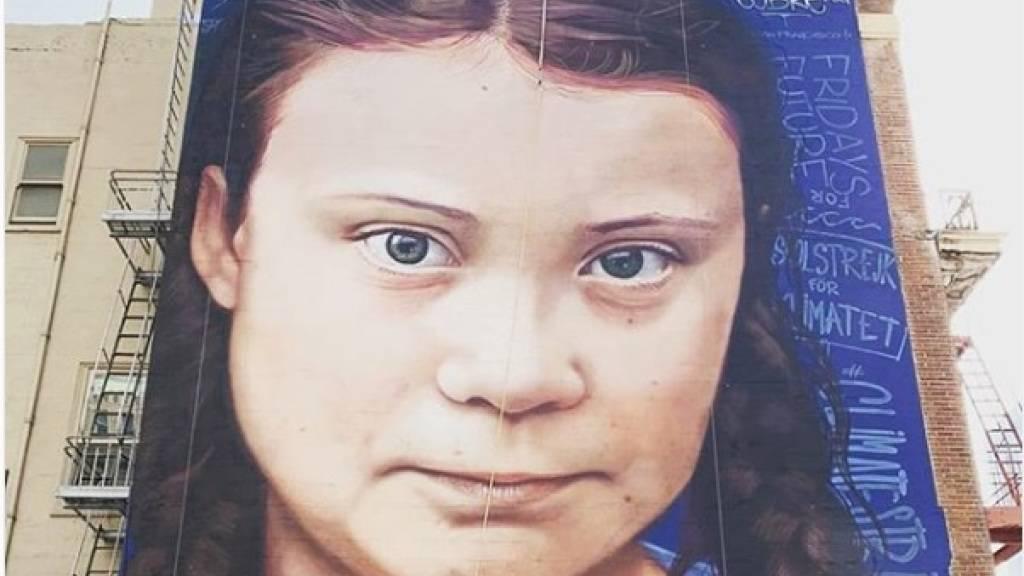 Die schwedische Klimaaktivistin Greta Thunberg (16) wurde als grosses Gemälde auf einer Hochhauswand in San Francisco verewigt.