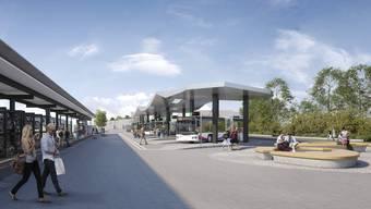 Ungefähr so könnte der neue Bushof und Bahnhofplatz in Wohlen ab Anfang 2021 aussehen. Unter diesem Platz sollen 110 Park-and-Ride-Parkplätze untergebracht werden.