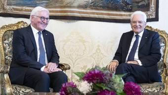 Bei dem Treffen im Quirinalspalast wurde deutlich, wie gross die gegenseitige Wertschätzung des deutschen Bundespräsidenten Steinmeier (l) und des italienischen Präsidenten Mattarella ist.