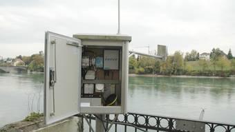 Die Pegelmessstation bei Rheinfelden überwacht den Wasserstand des Rheins