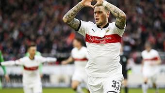 Mit seinem Tor in der 5. Minute sichert Daniel Ginczek dem VfB Stuttgart im Heimspiel gegen Borussia Mönchengladbach drei Punkte