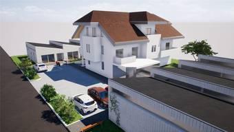 Links und rechts der Hauptgebäudes werden die acht neuen Wohneinheiten stehen.