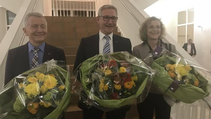 v.l.n.r. 1. Vize Gabriele Olivieri (CVP), Präsident Markus Erni (SVP), 2. Vize Catherine Peer (SP)
