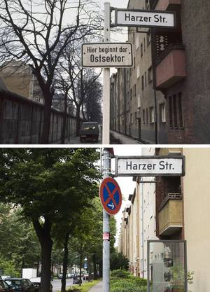 """Die Bildkombo zeigt ein Schild der Harzer Strasse in Berlin- Neuköln mit einem Hinweisschild mit der Aufschrift """"Hier beginnt der Ostsektor"""", während im Hintergrund die Mauer in Berlin zu sehen ist."""