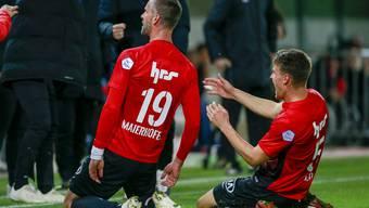Endlich wieder ein Sieg – es herrscht Freude bei den Spielern des FC Aarau.