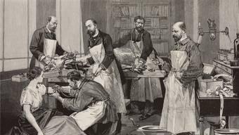 «Versuchskaninchen»: Eine Illustration aus dem Jahr 1891 zeigt, wie einer jungen Frau eine Ziegenbluttransfusion verabreicht wird. Magazin «L'Illustration» vom 7. März 1891
