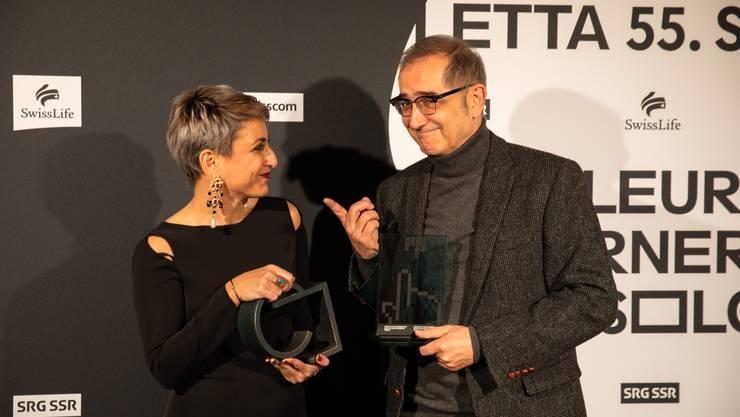 Die Preisträger Boutheyna Bouslama («Prix de Soleure») und Samir («Prix du Public») beim Fotoshooting