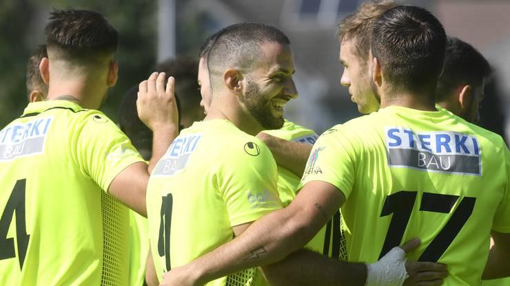 Die Solothurner bejubeln den Treffer von Loïc Chatton.