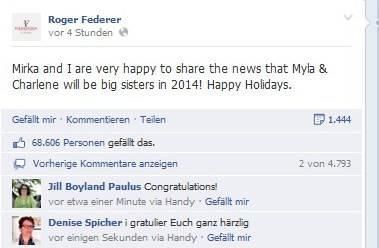 Roger Federer verkündet die Schwangerschaft von Mirka auch via Facebook. Vier Stunden später haben schon über 68000 seine Statusmeldung gelikt.