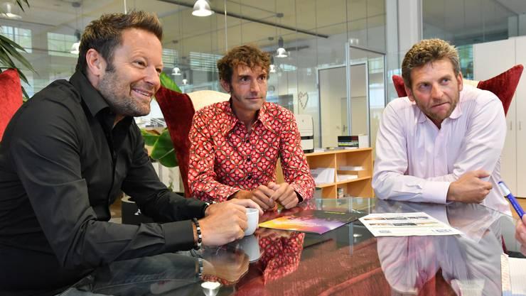 Die drei Oltner (v.l.) Reto Baumgartner, Mike Müller und Urs Koller wollen mit Ticketfrog den Markt für das Online-Ticketing aufmischen.
