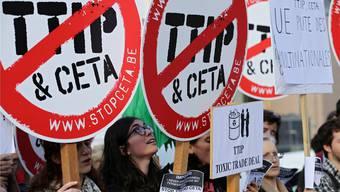 Demonstranten in Brüssel: TTIP-Gegner kämpfen bisweilen äusserst emotional gegen das Freihandelsabkommen. KEY
