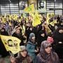Hisbollah-Anhänger bei einer Kundgebung im Libanon.