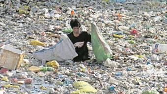 Ein Mann auf den Philippinen sammelt Plastikflaschen in einem durch einen Zaun geschützten Teil eines Flusses ein. Durch den Schutzzaun soll verhindert werden, dass Plastikabfall ins offene Meer gelangt.