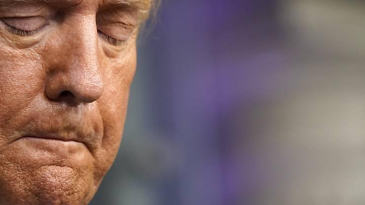 Donald Trump, Präsident der USA, während einer Pressekonferenz im Weißen Haus. Foto: Andrew Harnik/AP/dpa
