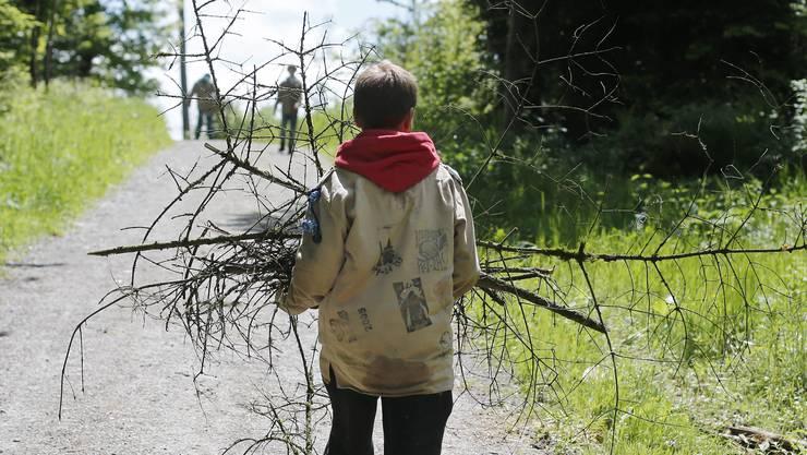 Ein junger Pfader sammelt Holz während eines Pfingstlagers: Er muss nicht in Panik verfallen – Pfadi-Leiter werden in der Ausbildung auf das Thema Missbrauch sensibilisiert. Das Problem: Es war nicht immer so. Und es gibt den Einzelfall. (Symbolbild)