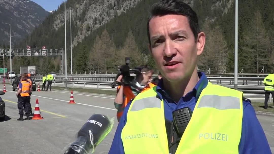 Osterverkehr wird bei Kontrollplatz in Göschenen UR angehalten
