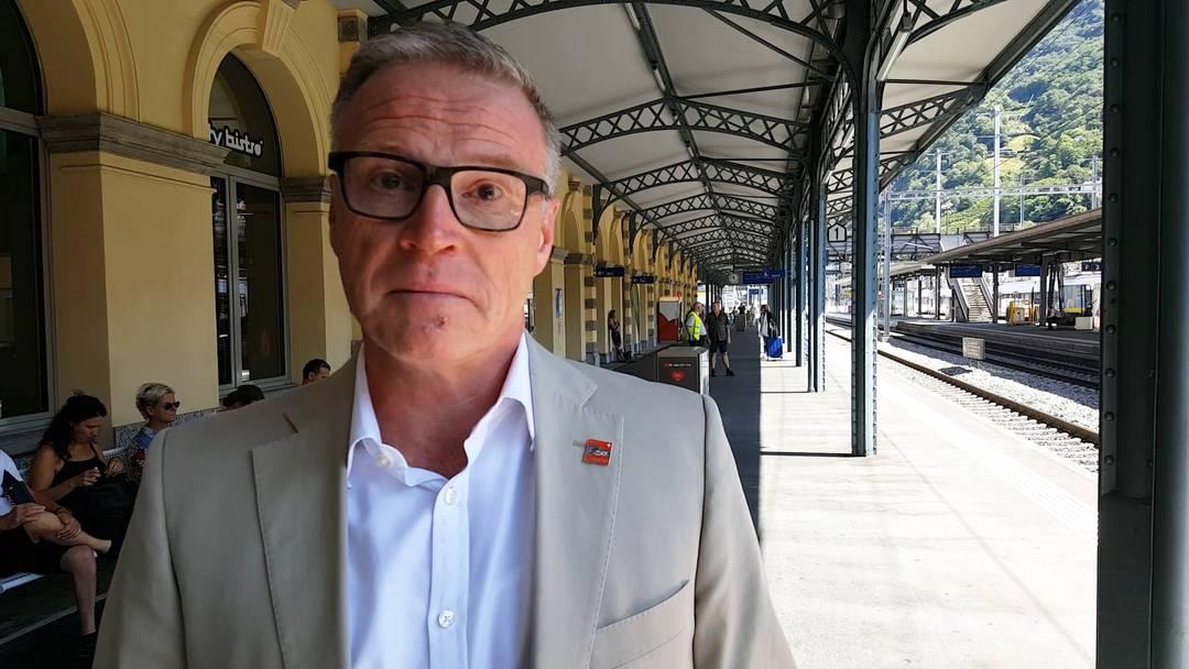 Den Tränen nahe: SBB-Chef Andreas Meyer äussert sich emotional zum tragischen Unglück am Badener Bahnhof, bei dem ein Zugblegleiter ums Leben kam. (Bellinzona, 8.8.2019)
