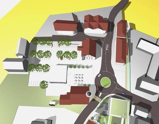 Reinacher Marktplatz: Studie über das Areal beim Gemeindehaus mit Kreisel.
