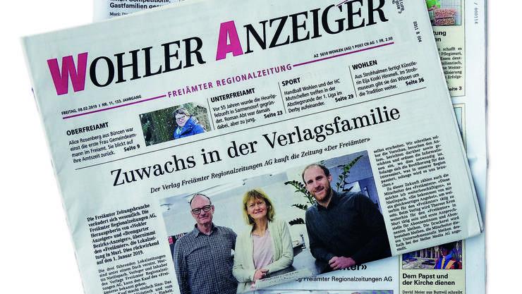 Die Titel bleiben, die Redaktionen in Muri und Wohlen auch, aber «Der Freiämter» gehört rückwirkend ab 1. Januar wie der Wohler Anzeiger der Freiämter Regionalzeitung AG.
