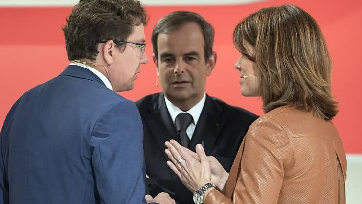 Die Parteipräsidenten Albert Rösti (SVP), Gerhard Pfister (CVP) und Petra Gössi (FDP). (Archivbild)