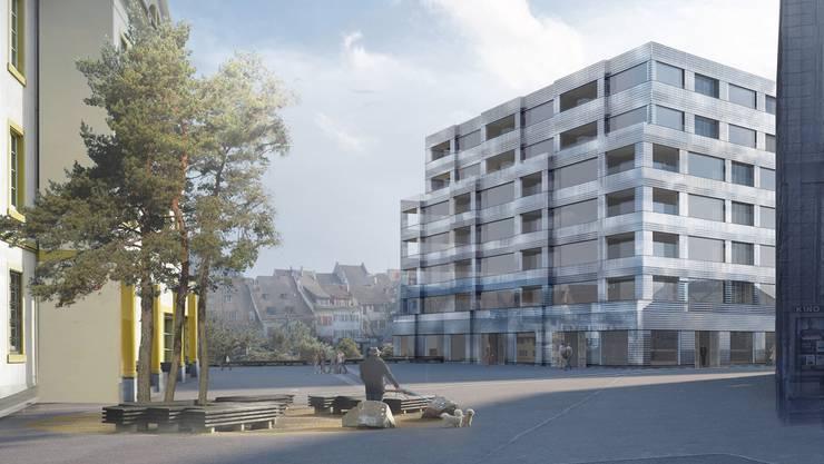 So soll dereinst der Blick vom Bahnhofsplatz aussehen (von links): Gerichtsgebäude, Altstadt, neue Post und Kulturhaus Palazzo.