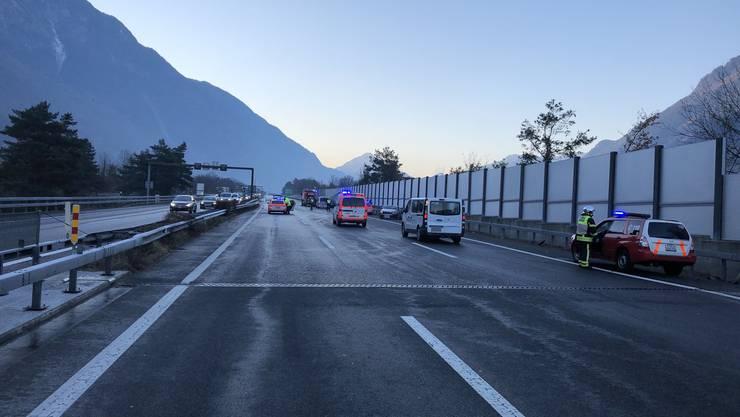 Die Unfallstelle bei St. Maurice im Wallis.