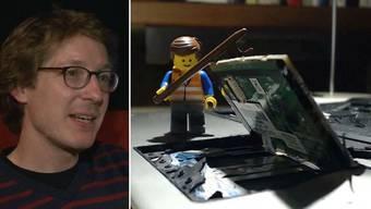 Legos erwachen dank RetoHochstrasser zum Leben und zerstören mit Rauch, Feuer und zahlreichen Explosionen ein Notebook.