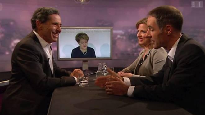 Roger Schawinski mit FDP-Nationalrätin Christa Markwalder und Ecopop-Chef Benno Büeler in «Schawinski». Foto: SRF