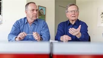 Während 8 respektive 12 Jahren prägten Thomas Fischer (l.) und Eduard Gerber das Geschehen im Wasseramt als Gemeindepräsidenten mit.Hanspeter Bärtschi