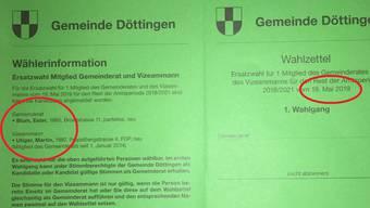 Einer der alten Wahlzettel aus Döttingen.