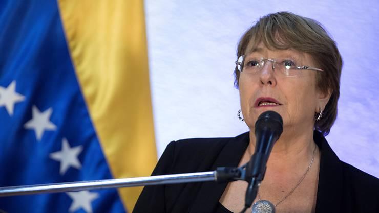 Uno-Menschenrechtskommissarin Michelle Bachelet präsentiert die Ergebnisse ihres Besuchs in Venezuela.