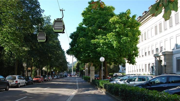 So könnte sich eine Stadtseilbahn in der Parkstrasse präsentieren.