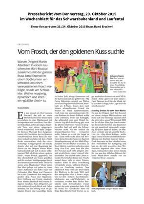 Pressebericht im Wochenblatt vom 29.10.2015