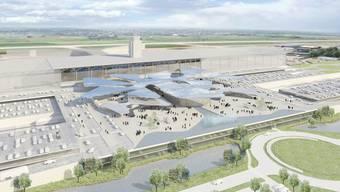 So könnte der Euro-Airport 2020 aussehen. Das Parkareal wäre umgestaltet – der neue Bahnhof soll halbunterirdisch neben den Parkhäusern zu liegen kommen.