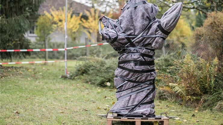 Markus Zauggs Kunstwerk ist derzeit noch verhüllt.