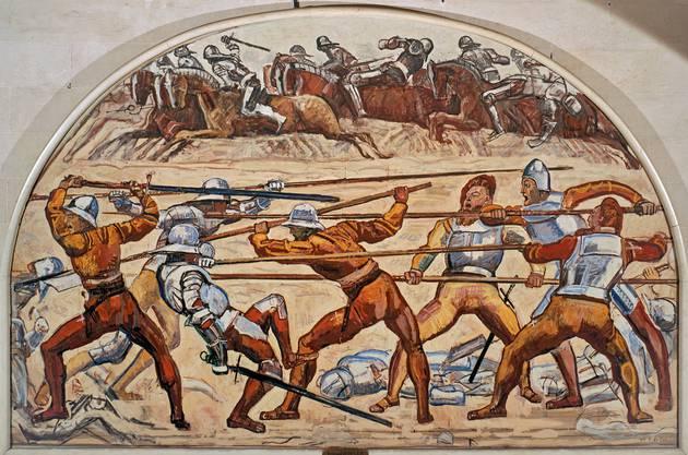 Parallelismus pur: Ferdinand Hodler unterwarf in «Schlacht bei Murten» von 1917 Pferde, Soldaten und Waffen seinem Kompositionsprinzip.