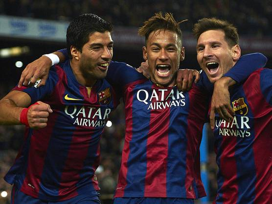 Das Ende des Super-Sturms ist da: Barcelonas Superstars Suarez, Neymar und Messi.