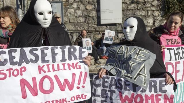 Demonstration in Montreux für den Frieden