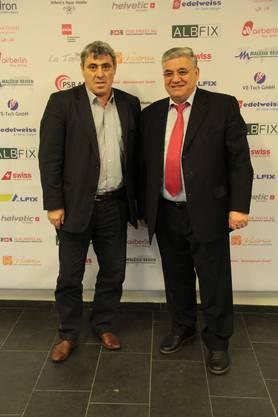 Der Präsident des kosovarischen Fussballverbands Fadil Vokrri (l.) und der Investor und Organisator Rrustem Aliaj (r.)