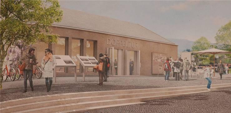 Doppeltür: So könnte das Besucherzentrum des Vermittlungsprojekts zwischen Juden und Christen dereinst aussehen. VISUALISIERUNG/ALAN EDBURG