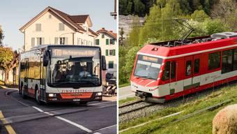 Gehören zu den besten Bahn- und Busbetreibern der Schweiz: Die Matterhorn Gotthard Bahn (links) und die Busbetriebe Bamert (rechts). (Bilder: Keystone (l.)/Bamert (r.))