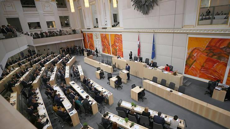 Eine Übersichtsaufnahme während der konstituierenden Sitzung des Nationalrats in Wen.