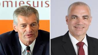 Economiesuisse-Präsident Heinz Karrer und der neue Direktor Jean-Marc Hensch