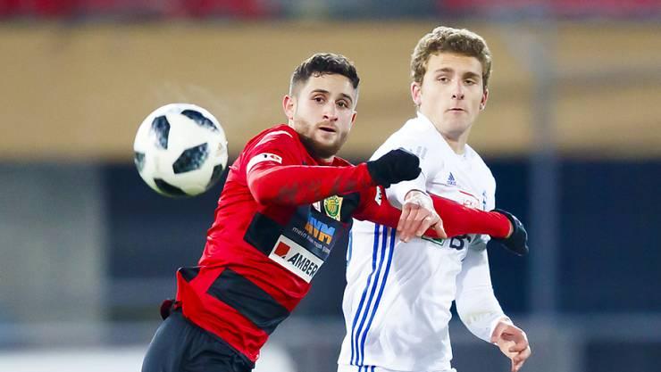 Spiel ab nächster Saison in der Super League: der bisherige Krienser Mittelstürmer Saleh Chihadeh (li.)