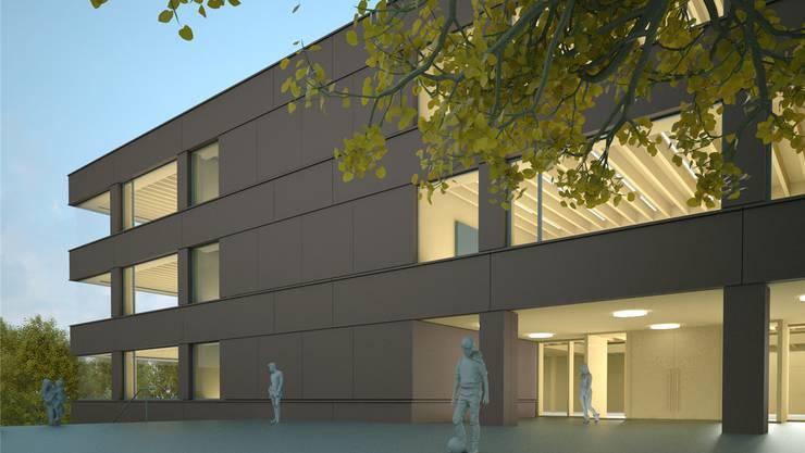So könnte der Neubau des Primarschulhauses Kleine Kreuzzelg künftig aussehen. Das Baugesuch liegt derzeit auf.