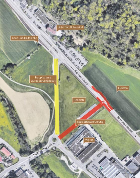 Das neue Strassenteilstück (rot) würde zwischen dem Migros-Kreisel und der Kantonsstrasse gebaut, wo ein Vollanschluss entstünde. Der bestehende Strassenabschnitt (gelb) zwischen Migros-Kreisel und Bad Bubendorf würde zurückgebaut.