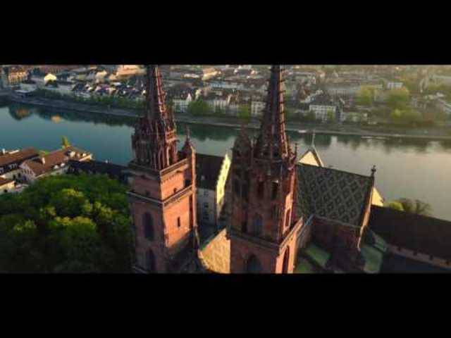 Drone cinematic footage of the Basel Minster (Switzerland)