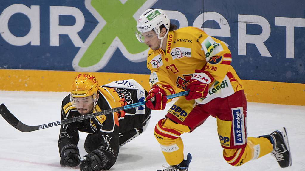 Spektakel in der Corner Arena, der Resega: Biels Yannick Rathgeb (rechts) gegen Luganos Luca Fazzini