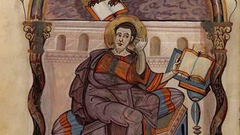 Der Evangelist Markus aus dem Lorscher Evangeliar (um 810).