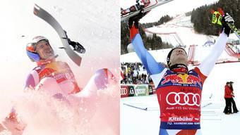 Zwei Welten: Didier Cuche (rechts) freut sich über einen von insgesamt fünf Siegen in der Weltcupabfahrt in Kitzbühel. Daniel Albrecht (links) schlägt 2009 brutal auf der Piste auf – der Sturz veränderte sein Leben komplett.